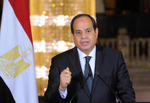 Egyptian President Abdel Fattah al-Sisi gives an address after the gunmen attack in Minya.