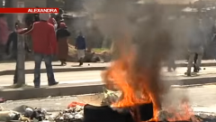 Tyres burning in the street