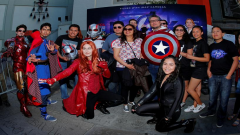 Avengers fans gather at the TCL Chinese Theatre in Hollywood