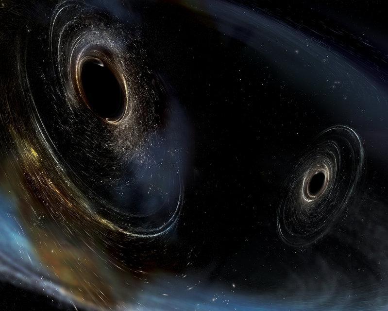 An artist's rendering showing two merging black holes.