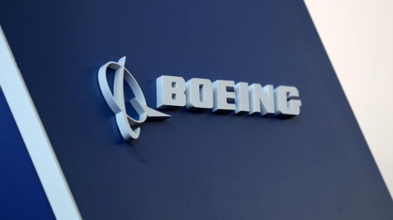 The Boeing logo is pictured at the Latin American Business Aviation Conference & Exhibition fair (LABACE) at Congonhas Airport.