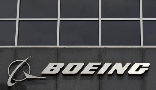 The Boeing logo is seen at their headquarters in Chicago.