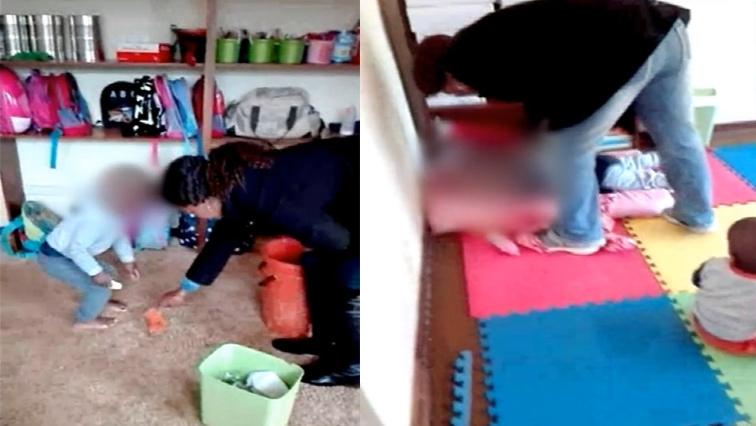 Teacher beating the child in creche