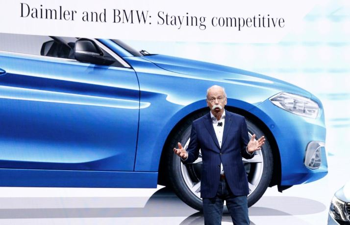 Dieter Zetsche, CEO of Daimler AG, talks about the Daimler - BMW collaboration on the Mercedes stand at the 89th Geneva International Motor Show in Geneva.