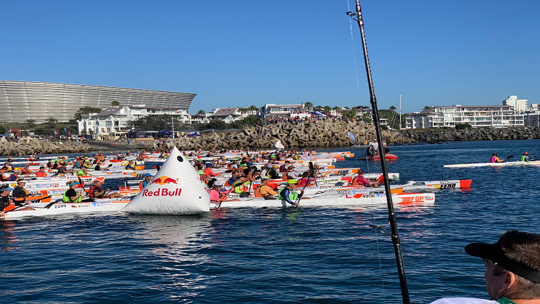 Paddlers in the water