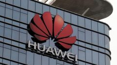 The Huawei logo is pictured outside its Huawei's factory campus in Dongguan, Guangdong province.