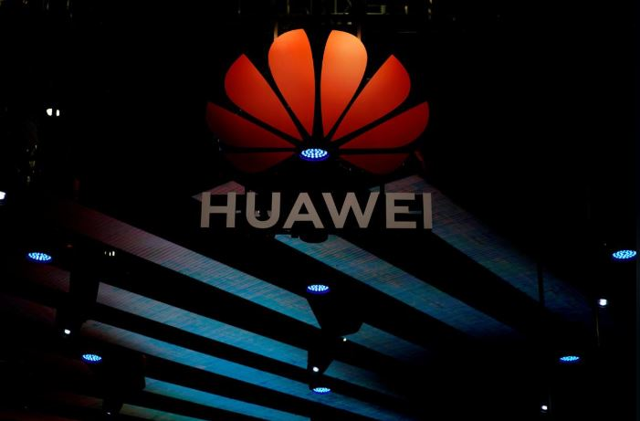 A Huawei logo is pictured during the media day for the Shanghai auto show in Shanghai.