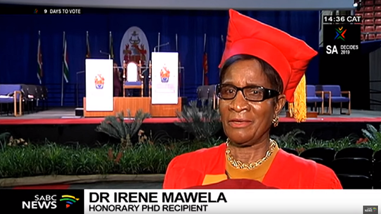 SABC News Irene Mawela - University of Pretoria honours Irene Mawela with PhD in music