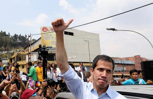 Venezuelan opposition leader Juan Guaido, who many nations have recognised as the country's rightful interim ruler.