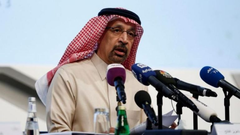 Saudi Energy Minister Khalid al-Falih speaks during a news conference in Riyadh, Saudi Arabi.