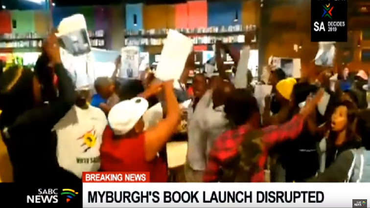 Myburghs-book-launch-disrupted.
