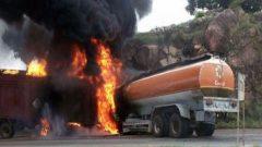 Fuel tanker burning