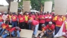 Striking ArcelorMittal workers picket outside Indian High Commissioner office