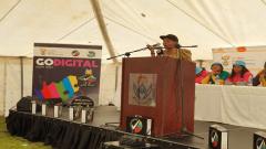 Pinky Kekana addressing residents.