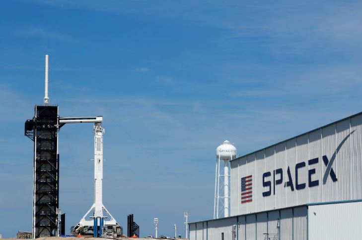 A SpaceX Falcon 9 carrying the Crew Dragon spacecraft sits on launch pad 39A prior to the uncrewed test flight to the International Space Station from the Kennedy Space Center in Cape Canaveral, Florida.