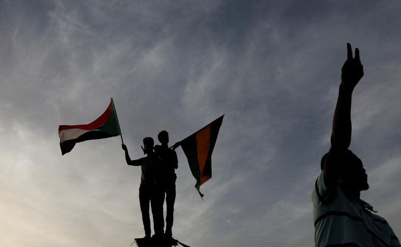 Sudanese demonstrators protest outside the Defence Ministry in Khartoum, Sudan.