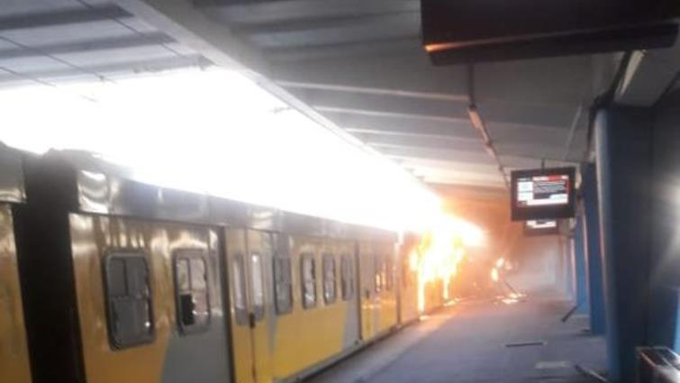 SABC News Train on Fire 1 - Cape Town train fire contained