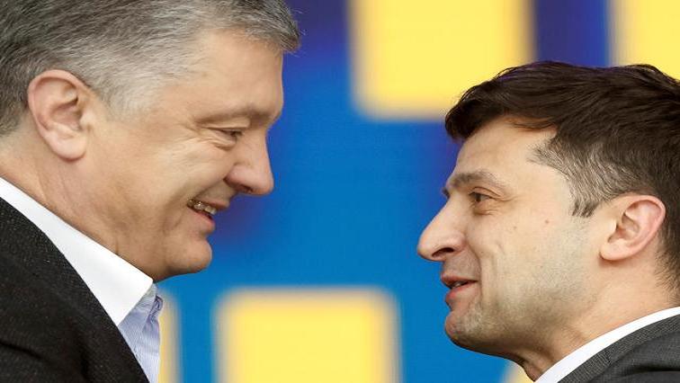 Petro Poroshenko and , Volodymyr Zelenskiy