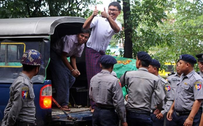 Detained Reuters journalists Wa Lone and Kyaw Soe Oo arrive at Insein court in Yangon, Myanmar