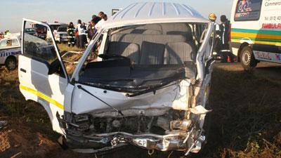 A crashed taxi