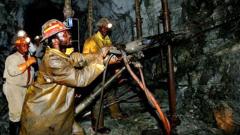 Mine workers inside a mine