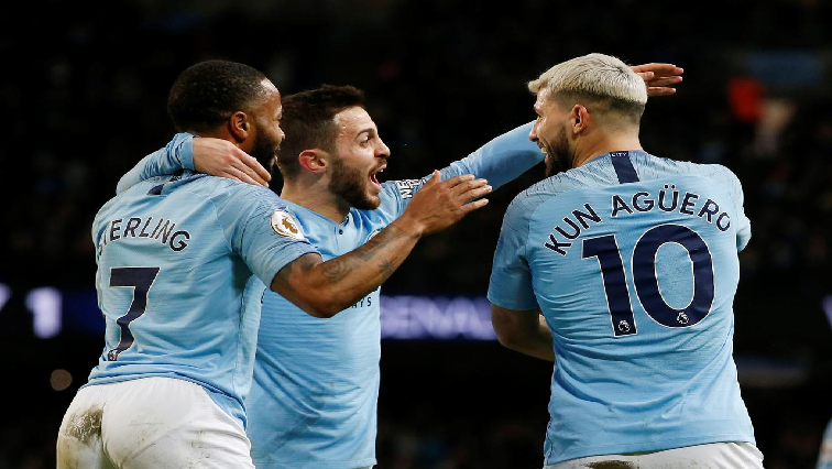 SABC News  Sergio Aguero Raheem Sterling and Bernardo Silva Reuters - Man City gain Spurs revenge to remain in control of title race