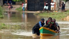 rescuers helping the victims.