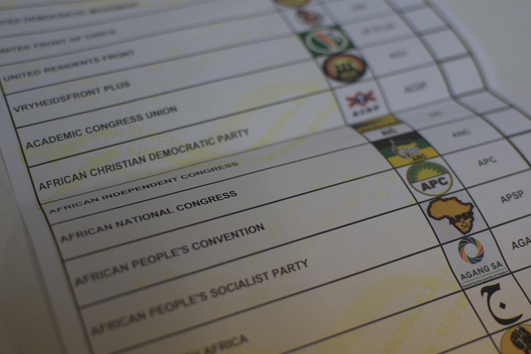 Ballot box with parties