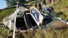 A crashed SANDF helicopter