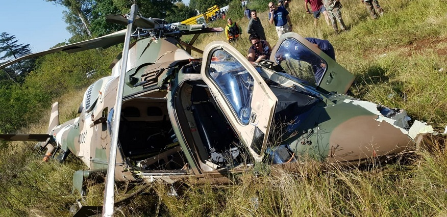 A crashed SANDF helicopter