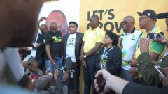 The party's top brass in an impromptu press briefing outside the IEC Results Centre (ROC) in Pretoria.