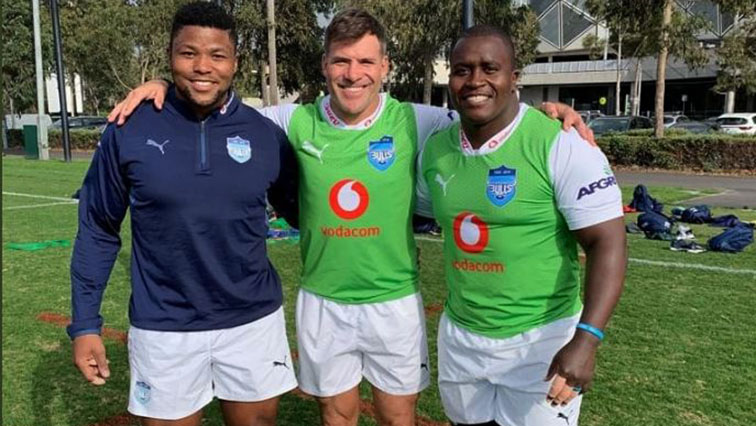 The Blue Bulls players standing during practice
