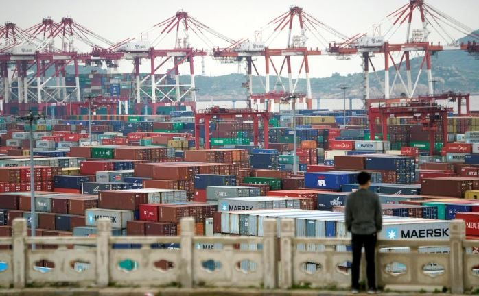 Containers are seen at the Yangshan Deep Water Port in Shanghai.