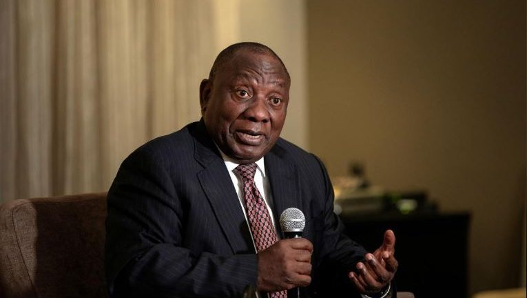 President Cyril Ramaphosa addresses the members of the South African Foreign Correspondents Association in Johannesburg.