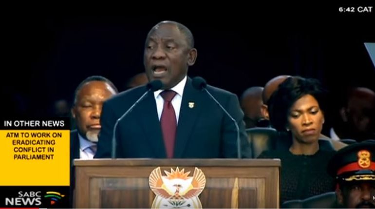 President Cyril Ramaphosa giving his speech during his inauguration