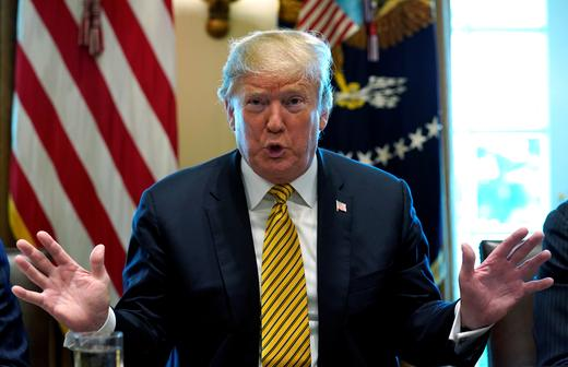 US President Donald Trump holds a White House Opportunity and Revitalization Council Meeting at the White House.