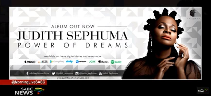 Judith Sephuma album art in Morning Live.
