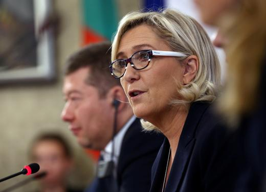 Marine Le Pen, leader of the French far-right National Rally (Rassemblement National).
