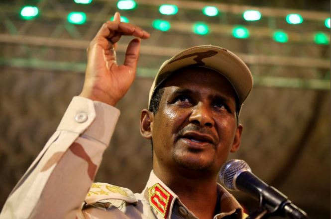 General Mohamed Hamdan Dagalo, head of the Rapid Support Forces (RSF) and deputy head of the Transitional Military Council (TMC) delivers an address after the Ramadan prayers and Iftar organized by Sultan of Darfur Ahmed Hussain in Khartoum.