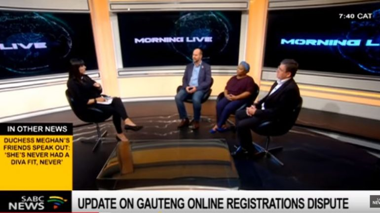 Childhood Education Lecturer at the University of Johannesburg Ntsiki Msimango, Manager for FEDSAS' Technology Centre Riaan Van der Bergh and CEO of the teacher's union Suid-Afrikaanse Onderwysunie Chris Klopper during an interview on Morning Live.