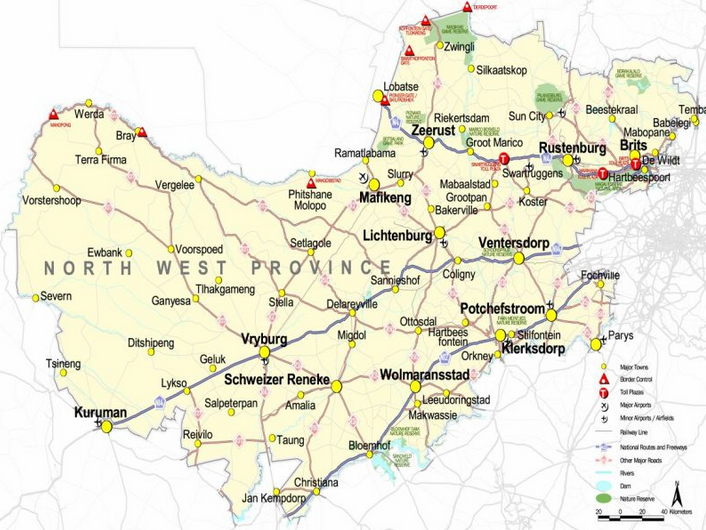 map of north west province in south africa North West Places Seven Municipalities Under Administration Sabc map of north west province in south africa