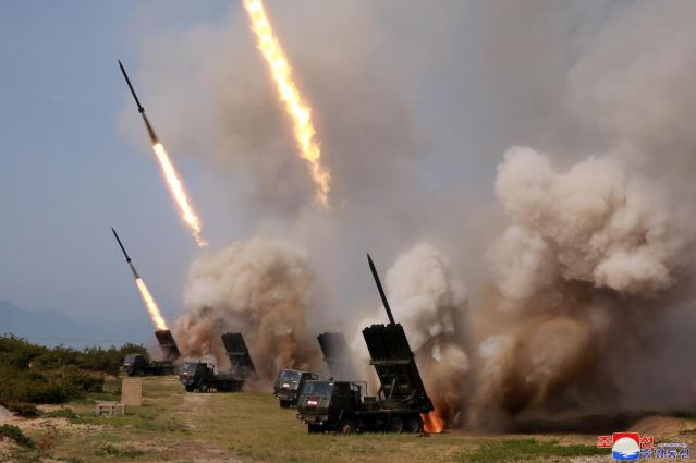 """North Korean military conducts a """"strike drill"""" for multiple launchers and tactical guided weapon into the East Sea during a military drill in North Korea."""