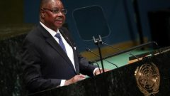 Malawi's President Peter Mutharika speaks at the Nelson Mandela Peace Summit