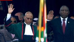 President Cyril Ramaphosa being sworn in