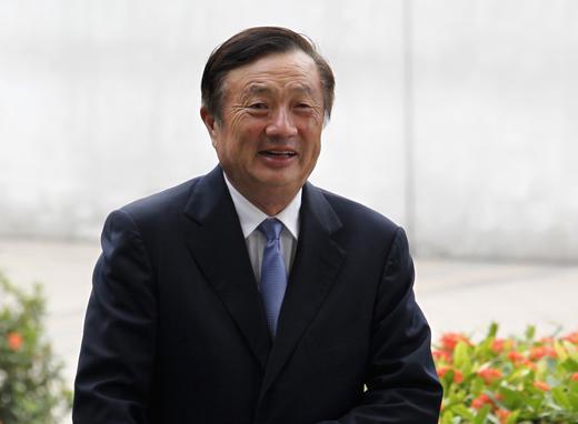 Huawei CEO and founder Ren Zhengfei walks inside Huawei's headquarters in the southern Chinese city of Shenzhen.