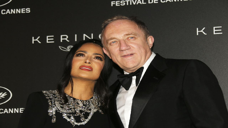 SABC News Salma Hayek and Francois Henri Pinault pose Reuters - Women honoured at Cannes, as gender parity drive draws scrutiny