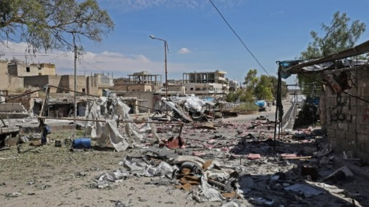 Ruins left by shelling in Syria's Idlib province