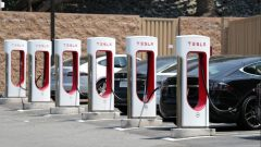 A Tesla electric car supercharger station is seen in Los Angeles.