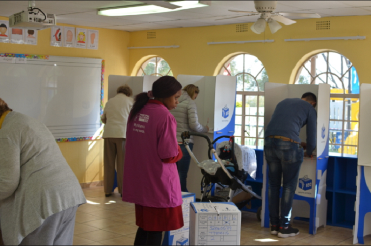 A voter at a voting station