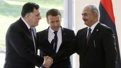 Fayez al-Sarraj, Emmanuel Macron and Khalifa Haftar